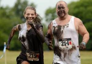 finishing a mud run