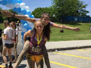 your first mud run kids celebrate