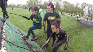 mom and kids mud run training